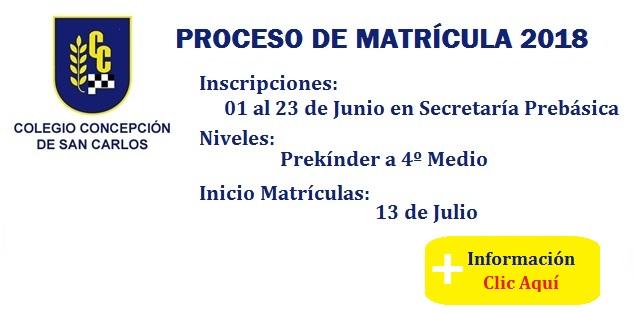 proceso matrículas 2018